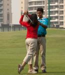 Teaching my wife golf - Great Finish!