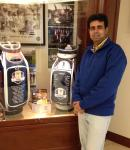 With the Ryder Cup Bags of the European and the US Team
